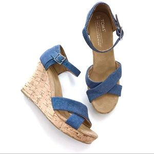 Toms Denim Blue Strappy Cork Wedges